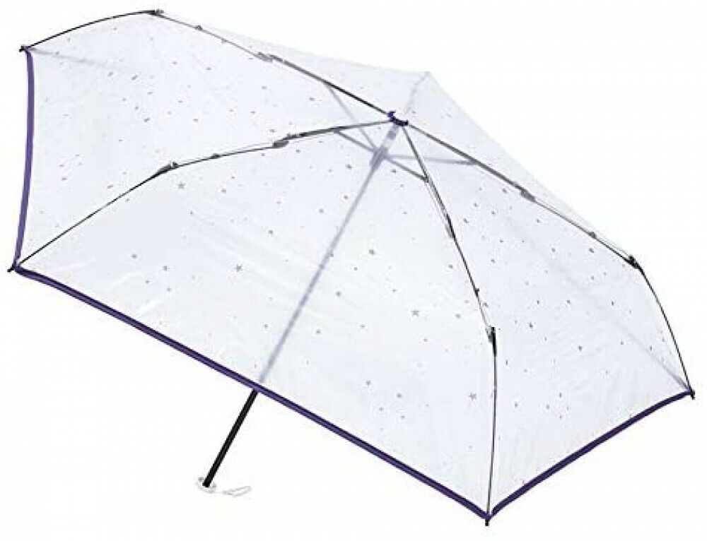 [Purple] estaa Star Pattern Transparent Vinyl Compact Folding Umbrella with Case
