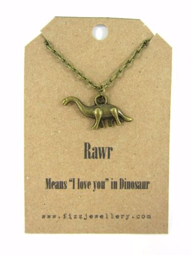"""Rawr Means /""""I love You/"""" Quirky Dinosaur Bronze Necklace Message Gift New"""