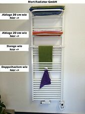 Handtuchhalter + Haken + Stangen + Ablagen für Badheizkörper in Weiss / Chrom