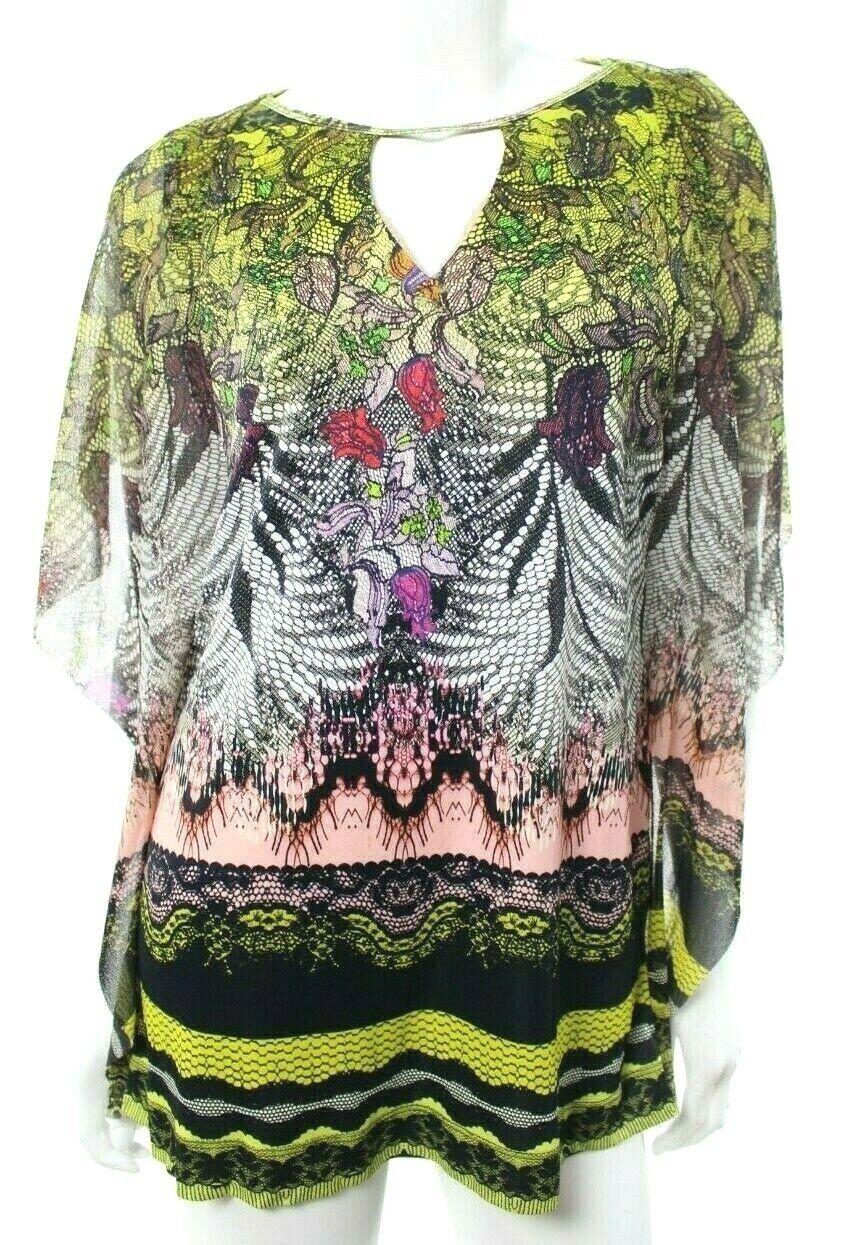 Fuzzi Woherren M Medium Lace Kaleidoscope Poncho Top Blouse Tunic Mesh Jersey EUC