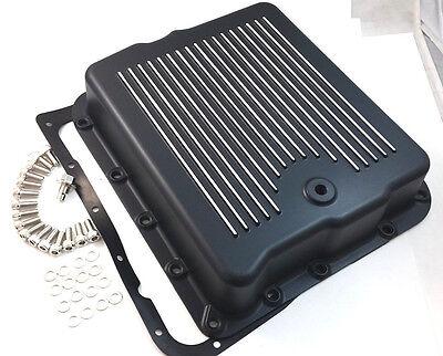 Black Aluminum Finned 700R4 700-R4 Transmission Pan W/ Bolts & Gasket Trans V8