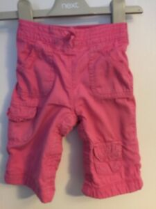 Girls-Age-3-6-Months-Gap-Pink-Cargo-Trousers-Poppers-All-Way-Down-Legs