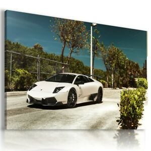 LAMBORGHINI MURCIELAGO WHITE Sports Car Wall Art Canvas Picture  AU713  MATAGA .