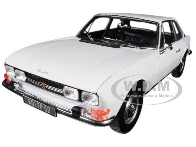 1969 Peugeot 504 Coupe Arosa White 1 18 Diecast Model Car By Norev