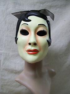 emo girl plastic face mask masquerade creepy mime stalker