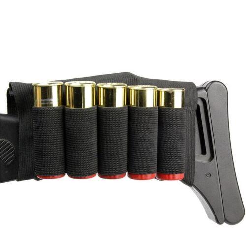 Airsoft Hunting Tactical Shotgun Pouches 5 Butt Cartridges Stock Shell Holder