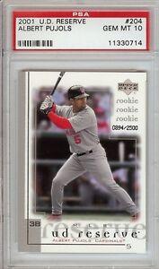 Albert-Pujols-Angels-2001-Upper-Deck-Reserve-204-Rookie-Card-rC-PSA-10-Gem-Mint