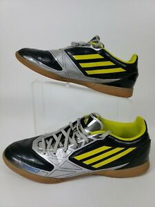 68651a3ff Image is loading Adidas-Fluorescent-Yellow-black-Indoor-F50-Soccer-Shoes-