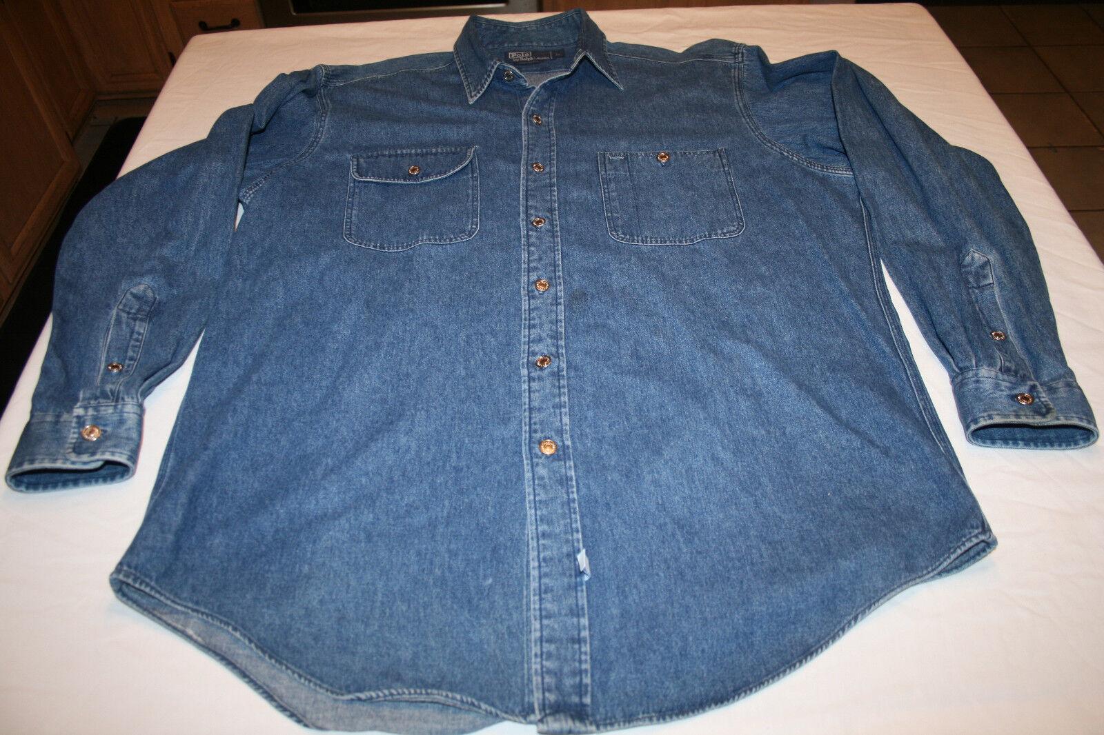 Polo Ralph Lauren Denim Shirt Cotton Large Classic Buttons
