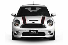 Mini Cooper 2002-2006 Black and Red Hood Stripe Decals - Exact Fit No trimming