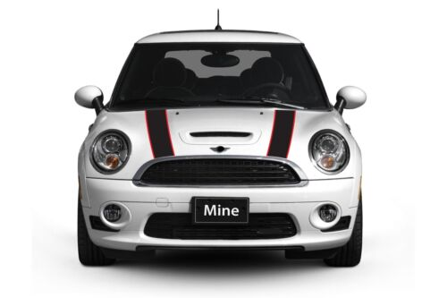 Mini Cooper 2002-2006 Black and Red Hood Stripe Decals Exact Fit No trimming