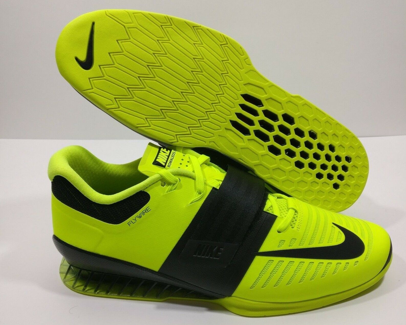 Mens Nike Romaleos 3 Weight Lifting Shoes Volt Black 852933 700 Size 14