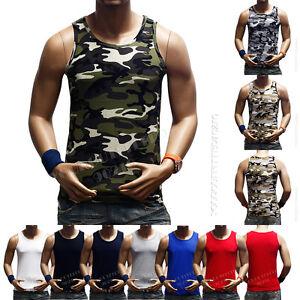 e7586cb5f3e36 Men s Tank Top Sleeveless T-Shirt Muscle Camo A-Shirt GYM ...