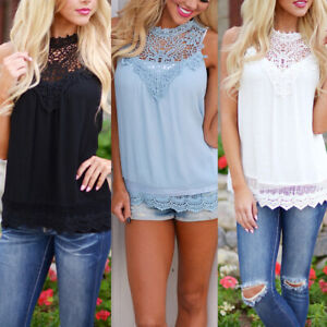 Fashion-Women-Summer-Lace-Vest-Top-Sleeveless-Blouse-Casual-Tank-Tops-T-Shirt