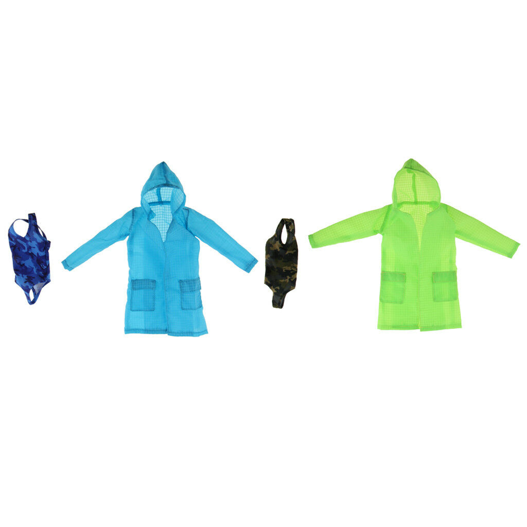 1 6 One-piece Swimsuit Green+bluee Coat Set for 12'' Female Figure Clothes