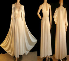 Vintage OLGA Lingerie Candlelight Bodysilk Sweep Nightgown Peignoir Robe Set L