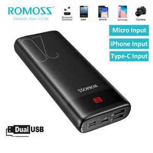 ROMOSS 20000mAh Power Bank 2*USB LCD Portable External Battery Charger for Phone