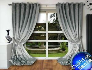 Crushed-Velvet-Curtains-Eyelet-Ring-Top-thick-108-034-long-huge-NEXT-DAY-fully-lined
