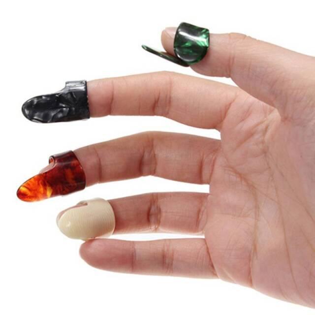 4PCS/Set Plastic 1 Thumb And 3 Finger Nail Guitar Picks Plectrums Accessories#