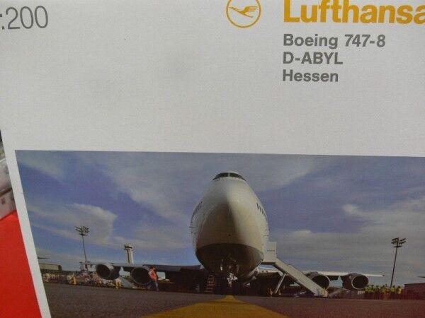 1 200 Herpa lufthansa boeing 747-8 intercontinental D-abyl Hessen 553759-003