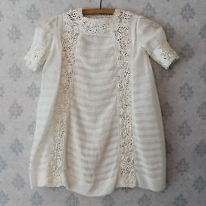 Vintage-1920s-Young-Girl-039-s-Ivory-Sheer-Cotton-Pintucked-Irish-Lace-Inset-Dress