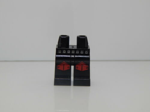 Lego Minifigure Legs Black with Silver Belt and Red Knee Pads Pattern L2