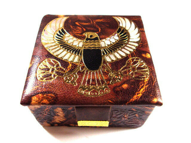 Egyptian HAND MADE FALCON  HORUS Genuine Leather Jewelry Box Pharaoh ethnic l