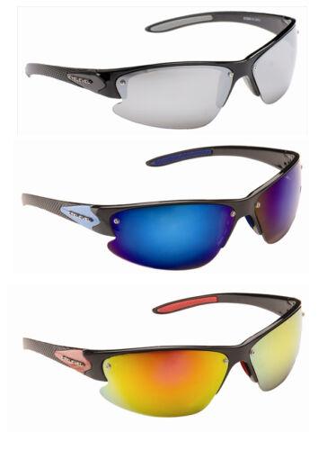Mens  Wrap Around Visor Plastic Sports Shades Mirror Sunglasses Black /& Case New