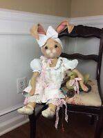 Primitive Folk Art Ooak Shabby Chic Bunny Rabbit Doll