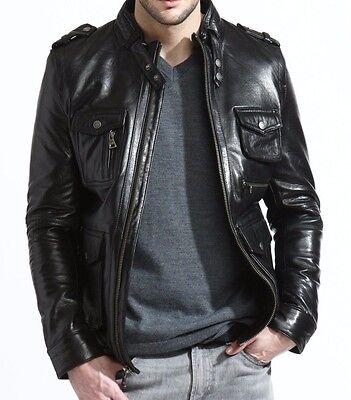 mens black brown leather field jacket military epaulets moto zip epaulets