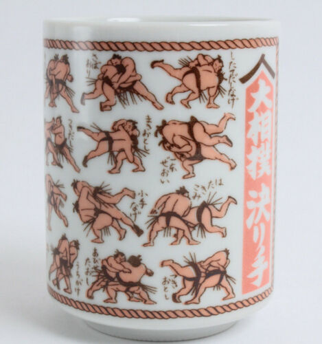 Mino ware Japanese Sushi Yunomi Chawan Tea Cup Sumo Winning Techniques Kimarite