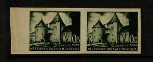 Croatia-SC-32-Imperf-Pair-Cream-Paper-No-Gum-S9627