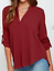 thumbnail 14 - Women's Summer Loose V Neck Chiffon Long Sleeve Blouse Casual Collar Shirt Tops