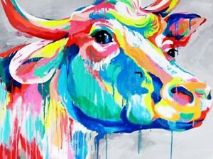 """Cow Colourful Animal wall art printed on canvas 16/'/' X 16/"""" solid frame"""