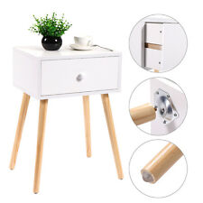 White Coffee Tea/End Table With Storage Drawer Modern Wood Furniture NEW
