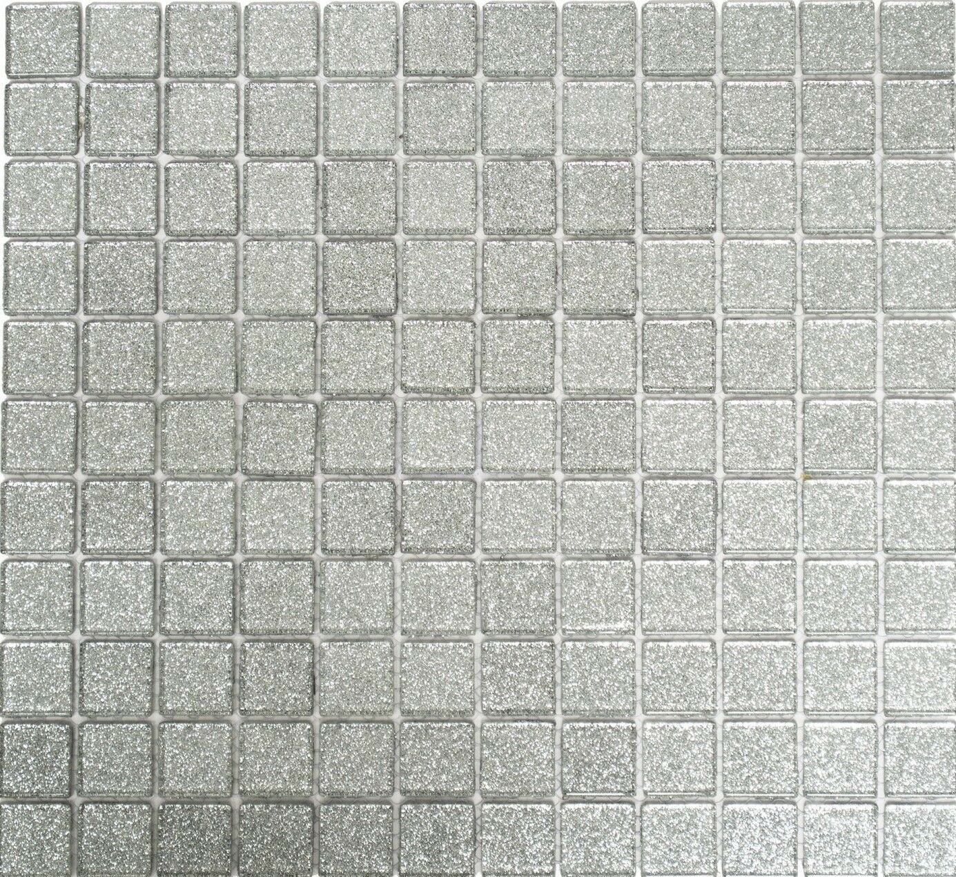 Glasmosaik silber glitzer Wand Badewannenverkleidung Küche 70-0207_f   10 Matten