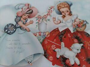 1948-Vtg-GIRLS-w-Little-LAMB-3-Full-Images-Embossed-EASTER-GREETING-CARD