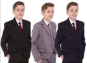 Boys-Grey-Black-or-Navy-Suit-Age-1-15-Years-Inc-Jacket-Waistcoat-Trouser-Shirt