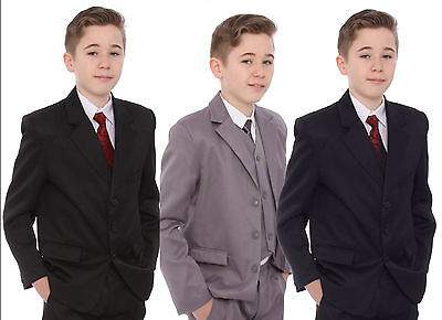 Grey Suit For Boys Age 1-15 Years Includes Jacket Waistcoat Trousers Shirt & Tie