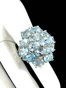 STUNNING 925 STERLING SILVER 14K WHITE GP BLUE TOPAZ COCKTAIL RING SIZE 8