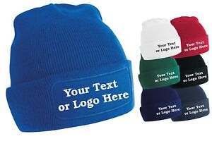 Image is loading Personalised-Printed-Beanie-Hat-Pullover-Custom-Wooley-Hat- c12418d40776