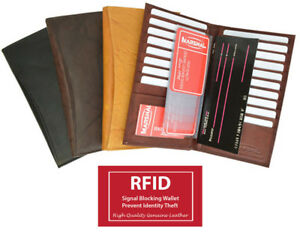 fca2a0b401d95 Image is loading Men-Lady-RFID-Blocking-Leather-Checkbook19-Card-ID-