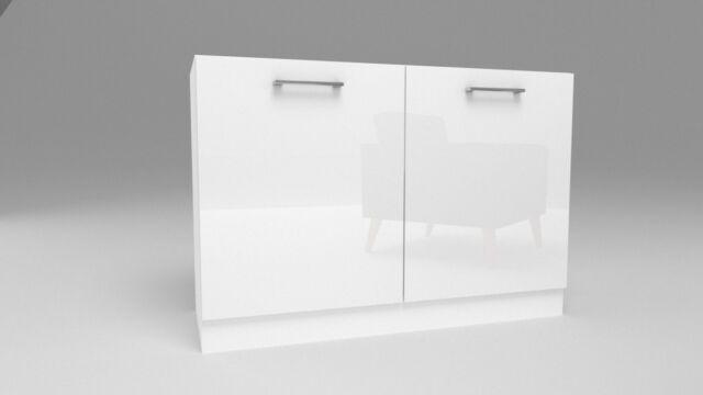 Unterschrank Küchenschrank zu Küchenzeile 2 Türig Weiß Hochglanz 60-120cm  sockel