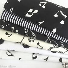 Bundle 6 fat quarters 100%  cotton musical notes Black, ivory & white