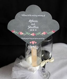 Personalised Hand Fan Wedding Favour Rustic Vintage Activity Pack Program