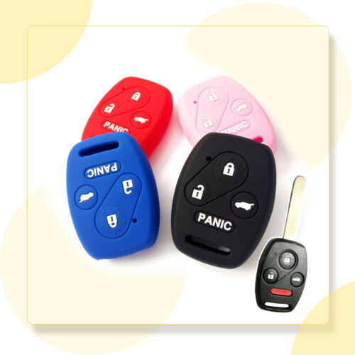 1x Colorful 4 Botton Silicone Car Key Cover Case Durable For Honda Civic Accord