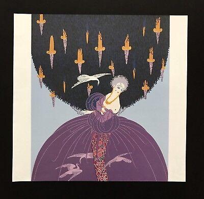Vintage Art Book Plate ERTE Print Art Deco Fashion Purple Poofy Dress 01365