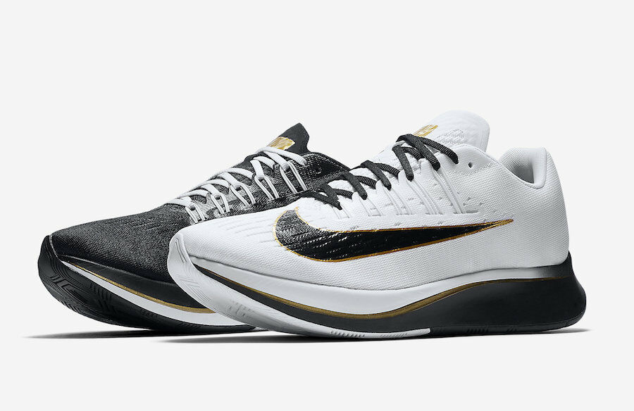 Nike Mens Zoom Fly Black White Metallic gold Mismatch Running shoes Size 8