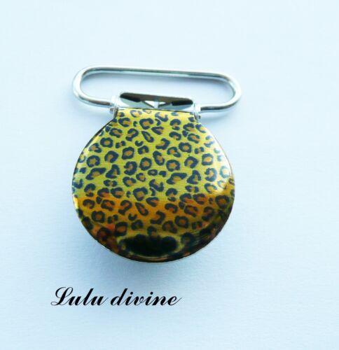 taches noires Attache tétine /& doudou jaune effet léopard 1 Pince bretelle