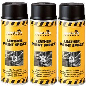 Leder Spray Lederspray Schwarz 3 x 400ml Lederfarbspray Lederfarbe Kunstleder